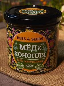 Медовый урбеч Мед и Конопля, Bees&Seeds 400г. Помогает сбросить вес и омолаживает организм