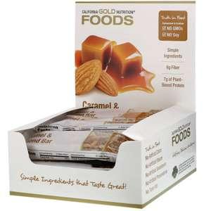 Батончики California Gold Nutrition с карамелью и миндалем, 12 батончиков, 40 г
