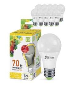 Светодиодная лампа ASD LED-A60, E27, 7 Вт, 3000K (теплый), (упаковка 10 шт.)
