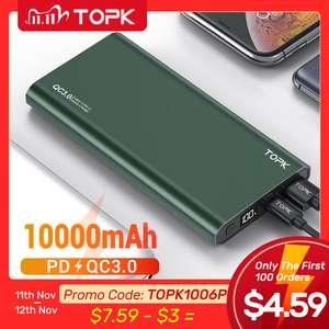 Внешний аккумулятор TOPK на 10000 мА · ч со светодиодной подсветкой
