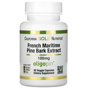 Экстракт коры французской приморской сосны Oligopin California Gold Nutrition полифенольный антиоксидант 100 мг, 60 капсул