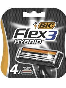 Сменные кассеты для мужской бритвы, 3 подвижных лезвия, BIC Flex3 Hybrid, уп. 4 шт.