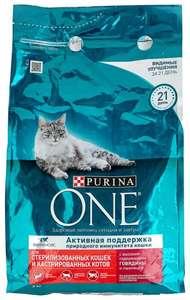 Корм для стерилизованных кошек Purina ONE с говядиной и с пшеницей 3 кг