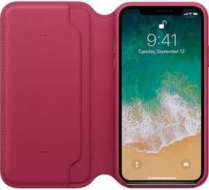 Чехол - книжка Apple Leather Folio для iPhone X «Лесная ягода»