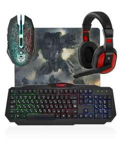 Комплект игровая клавиатура + мышь + наушники + коврик Defender Target MKP-350