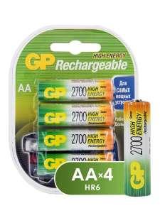 Аккумуляторная батарейка GP АА HR6 2700 мАч NiMH в комплекте (в наборе) 4 шт.