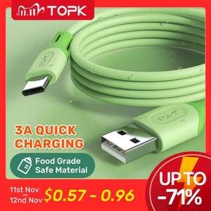 Кабель TOPK Micro USB Type C