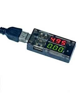 USB тестер напряжения и тока ваттметр , 2 параметра, Zornwee