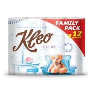 Туалетная бумага Kleo Ультра, 3слоя, 12 рулонов