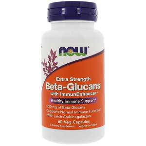 Бета-глюканы Now Foods с ImmunEnhancer, дополнительная сила, 250 мг, 60 капсул