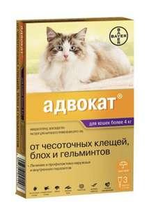 Капли от чесоточных клещей, блох и гельминтов для кошек более 4 кг Адвокат Bayer (3 пипетки)
