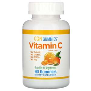 Жевательные таблетки с витаминомА и С, California Gold Nutrition натуральный апельсиновый вкус, без желатина, 90шт