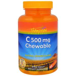 Жевательные таблетки с витамином С Thompson апельсиновый вкус 60 шт по 500 мг