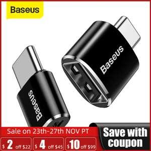 Промокод на скидку $1/2 на весь магазин Baseus (напр. OTG адаптер с USB на Type-c)