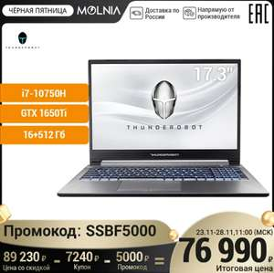 """Игровой ноутбук Thunderobot 911 plus (17.3 """" FHD IPS,16Гб+512Гб SSD,I7 10750H,GTX 1650Ti, Русская клавиатура/DOS)"""