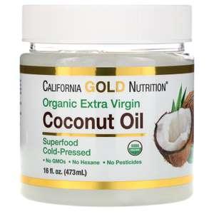 Органическое кокосовое масло первого холодного отжима California Gold Nutrition 473мл