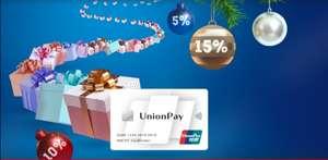 Unionpay дополнительный кэшбек 5-15% за покупки от 1000₽