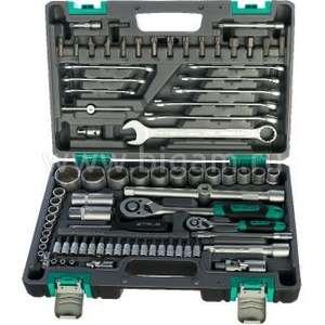 Набор инструментов в пластиковом кейсе Stels 14105 (1/2, 1/4, CrV, 82 шт.)