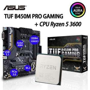 Игровая материнская плата Socket AM4 Asus TUF B450M-PRO + процессор R5 3600 AMD