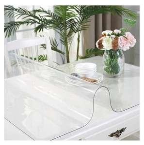 Гибкое стекло на стол, скатерть из мягкого стекла, силиконовая скатерть прозрачная 140х60, толщина 1 мм