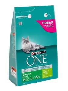 Сухой корм PURINA ONE для домашних кошек с индейкой и цельными злаками, 3 кг