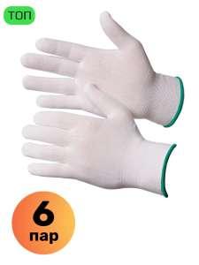 Перчатки Gward нейлоновые черные, 6 пар (12 шт)