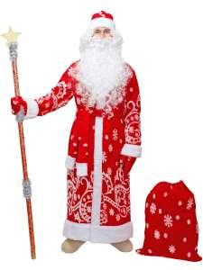 Костюм Дед Мороз с бородой и париком ПраздникСнаб