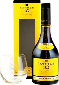 [МО] Бренди TORRES 10 Gran Reserva со стаканом алк.38% п/у, Испания, 0.7 L