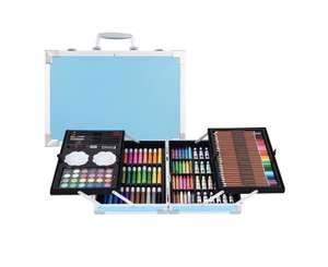 Набор для рисования с красками в алюминиевом кейсе 147 предметов Kids.Art Голубой кейс