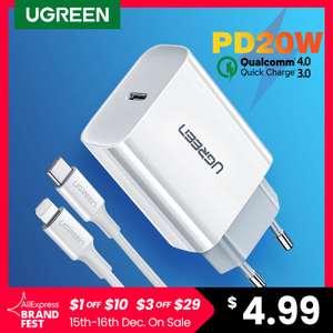 Устройство для быстрой зарядки Ugreen 4.0, 3.0, QC PD (например, 20 Вт PD)