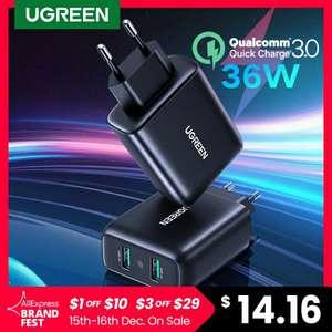 Зарядное устройство UGREEN 36W QC3.0 2xUSB