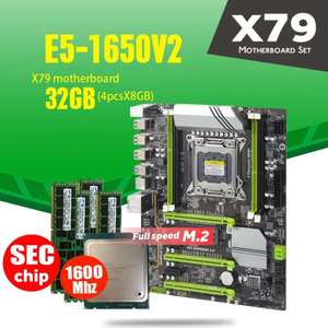 Материнская плата X79 Turbo LGA2011 ATX combos E5 1650 V2 4 шт. x 8 ГБ