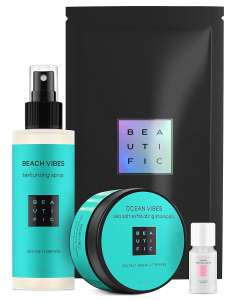 Подарочный набор BEAUTIFIC для очищения и объема: шампунь, скраб и солевой спрей для волос.