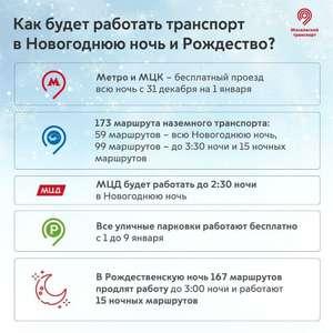 [Москва] Проезд на метро и МЦК будет бесплатным всю новогоднюю ночь (с 20:00 31 декабря до 06:00 1 января)
