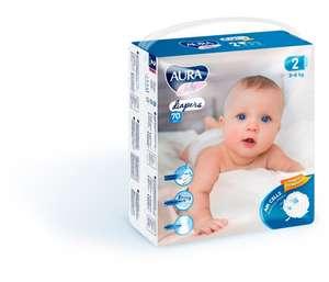 Aura Baby Подгузники mega-pack р.2 S (3-6 кг) 70 шт.