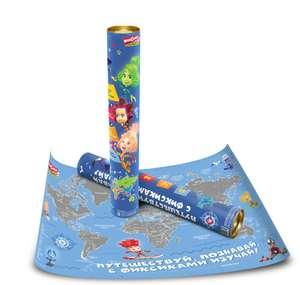 """Скретч карта мира для детей """"Фиксики"""" (с загадками, стикерами и областями России)"""