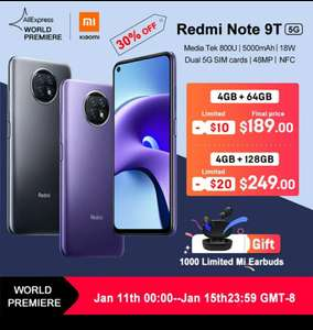 Смартфон Redmi Note 9T 4/64 5G