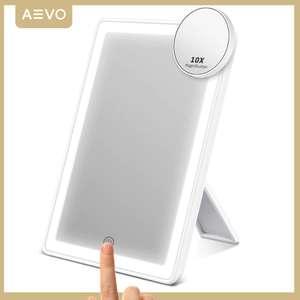 Оригинальное AEVO зеркало для макияжа с светильником и увеличительной частью.