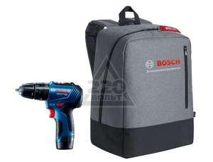 Набор: дрель-шуруповерт Bosch GSB 12V-30 06019G9120, кейс, 2x 2.0 Ач + рюкзак Bosch Pro 1619M00Z7X