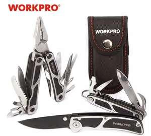 Мультитул WORKPRO (3 в 1), Пассатижи - мульти + складной нож - мульти + складной нож!