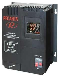 Стабилизатор напряжения однофазный РЕСАНТА СПН 5400 (5.4 кВт) черный