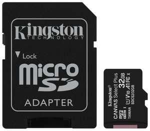 Карта памяти 32ГБ Kingston Canvas Select Plus microSDHC + SD адаптер (SDCS2/32GB), UHS-I, U1, class 10