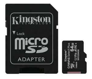 64ГБ Карта памяти Kingston Canvas Select Plus microSDXC (SDCS2/64GBSP), UHS-I, U1, class 10 + SD адаптер