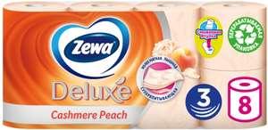 Туалетная бумага Zewa Deluxe Персик трёхслойная, 8 рулонов (цена при покупке 4 упаковок)