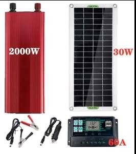 Солнечная станция 30вт (панель, инвертор, контроллер)