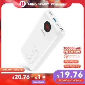 Powerbank Romoss SW30 Pro (30000 mAh, QC 3.0, Type-C, Lightning)