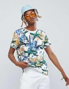 Белая футболка с тропическим принтом Weekday