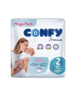Подгузники детские Confy Premium Mini, размер 2 (3-6 кг), Mega упаковка (160 шт.)