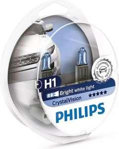 """Лампа автомобильная галогенная Philips """"CrystalVision"""", для фар, цоколь H1 (P14,5s), 12V, 55W, 2 шт + цоколь W5W, 12V, 5W, 2 шт"""