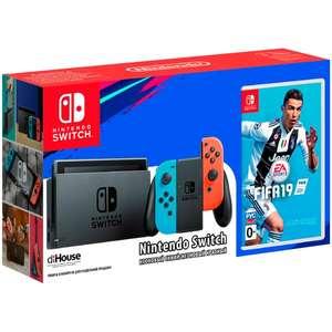 Игровая приставка Nintendo Switch Red Blue + FIFA 19